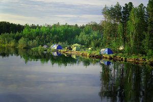 Great campground on the banks of Siberian rivers