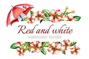Red and white petunias and umbrellas