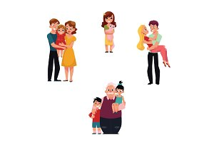 Family members hugging - parents, children, grandchildren, pet, loving couple