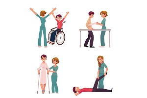 Medical rehabilitation, physical therapy activities, physiotherapist working with patients