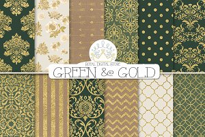 GREEN & GOLD DAMASK digital paper