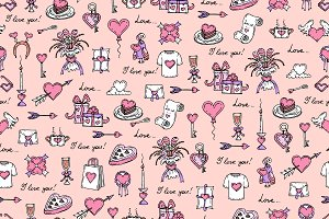 Pattern on a romantic theme