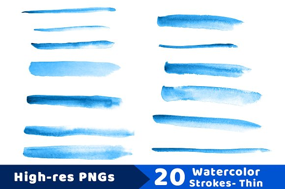 20 Watercolor Brush Strokes- Thin