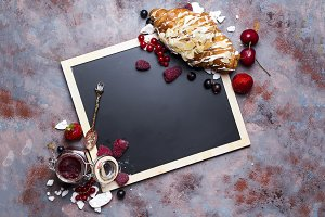 Croissant with meringue on chalkboard