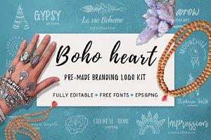 Boho heart - branding logo kit