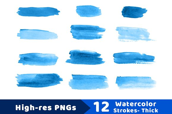 12 Watercolor Brush Strokes- Thick