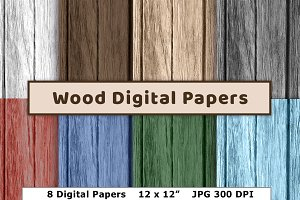 Wood Digital Paper- Colored