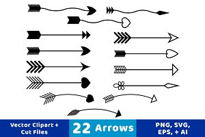 22 Arrows Vector Clipart