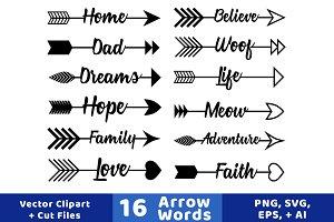 16 Arrow Words Clipart