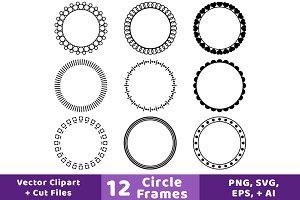 12 Circle Frames Clipart