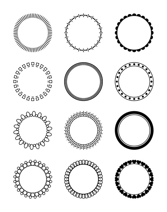 12 Circle Frames Clipart ~ Graphic Objects ~ Creative Market