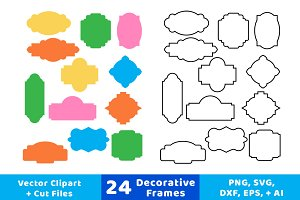 24 Decorative Frames Vector Clipart