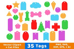 35 Tags Vector Clipart