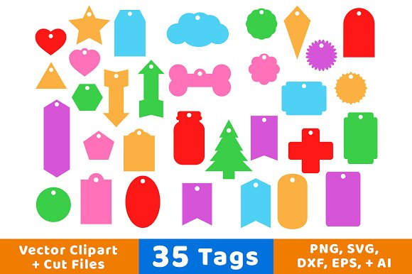 35 Tags Vector Clipart