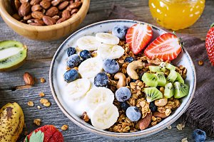 Granola bowl with fruits and berries