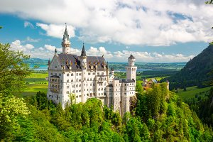 Neuschwanstein Castle on the top of the mountain, Bavaria, Germany