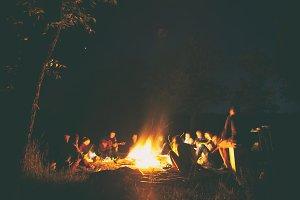 People near the bonfire