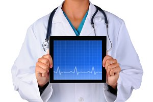 Nurse With EKG Tablet