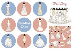 Set of hand drawn wedding dresses