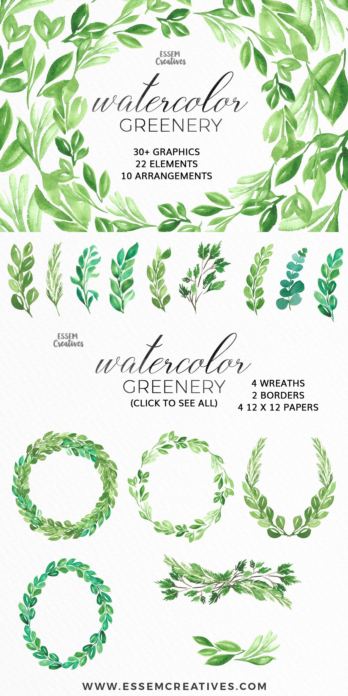 Watercolor greenery leaves clipart illustrations for Watercolor greenery