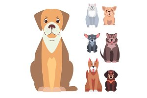 Cute Purebred Dogs Cartoon Flat Vectors Icons Set