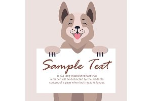Cute Dog Holding Banner with Sample Text Vector