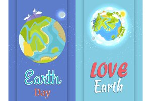 Love Earth Day Poster with Planet in Night and Day