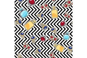 Jewelry for Women. Elite Perfume. Seamless Pattern
