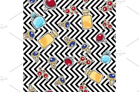 Jewelry For Women Elite Perfume Seamless Pattern