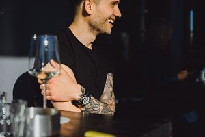 Handsome tattooed man