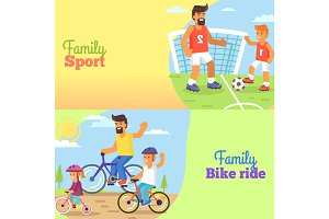 Family Football and Bike Riding with Dad and Kids