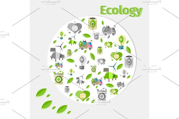 Ecology Poster With Small Green And Grey Icons