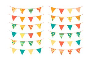 Cute colorful bunting flags clipart
