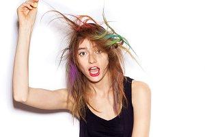 Funny girl shaking her hair