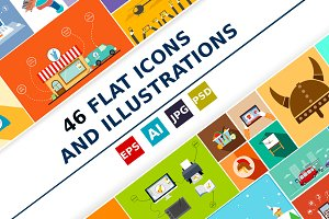 Flat icons and illustrations