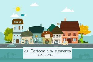City cartoon elements