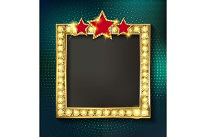 Retro marquee stylish frames set