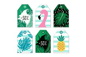 Cute set of hand drawn summer elements