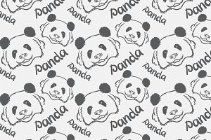 Panda drawing, seamless pattern