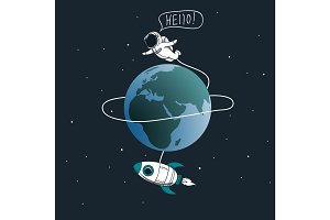 Cute astronaut flying around the Earth