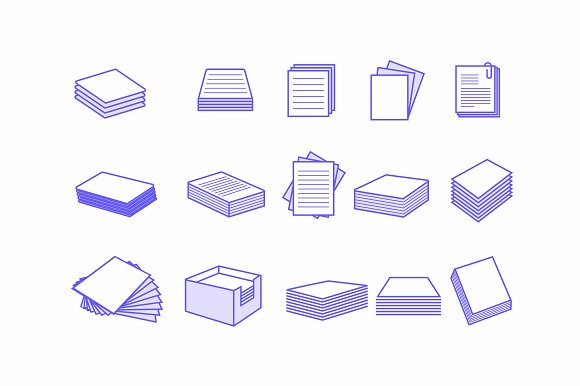 15 Paper Stack Icons
