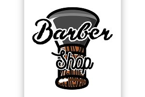 Color vintage barber shop emblem