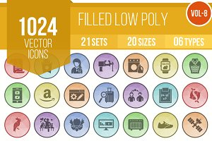 1024 Filled Low Poly B/G Icons (V8)