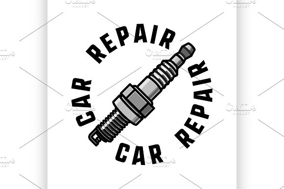 Color Vintage Car Repair Emblem