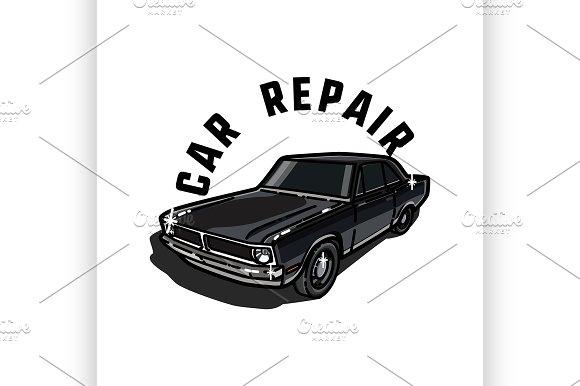 Color vintage car repair emblem
