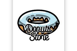 Color vintage donuts store emblem
