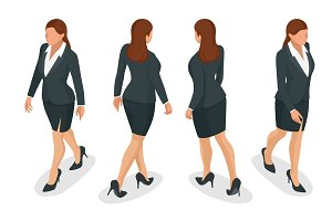 Set of working elegant business women in formal clothes. on white background. Create your isometric person for vector illustrations