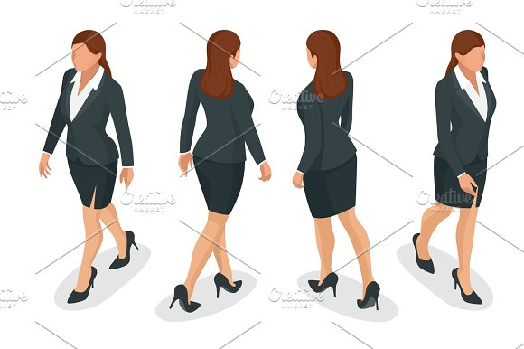 Set Of Working Elegant Business Women In Formal Clothes On White Background Create Your Isometric Person For Vector Illustrations