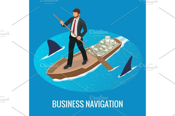 Isometric Business Navigation Concept Businessman At The Helm Of Rides On The Arrow Good Direction Control And Right Direction Vector Illustration
