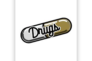 Color vintage drugs emblem
